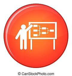 Businessman and presentation screen icon