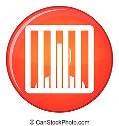 Man behind jail bars icon, flat style