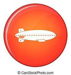 Dirigible balloon icon, flat style - Dirigible balloon icon...