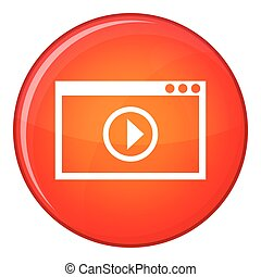Program for video playback icon, flat style - Program for...