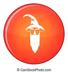 Wizard icon, flat style - Wizard icon in red circle isolated...