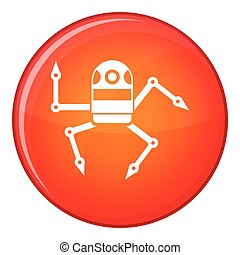 Spider robot icon, flat style