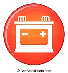 Car battery icon, flat style - Car battery icon in red...