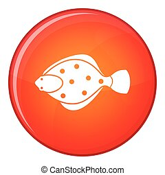 Flounder fish icon, flat style - Flounder fish icon in red...