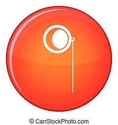 Monocle icon, flat style - Monocle icon in red circle...