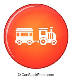 Toy train icon, flat style - Toy trainin simple style...