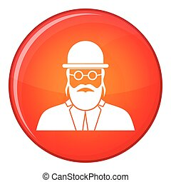 Orthodox jew icon, flat style - Orthodox jew icon in red...
