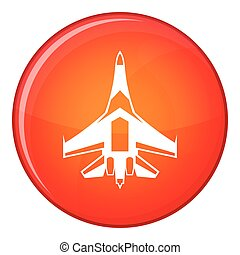 Jet fighter plane icon, flat style - Jet fighter plane icon...