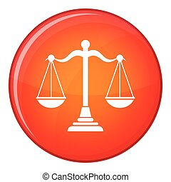 Balance scale icon, flat style - Balance scale icon in red...