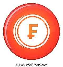 Franc coins icon, flat style - Franc coins icon in red...