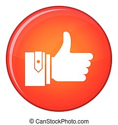 Thumbs up icon, flat style - Thumbs up icon in red circle...