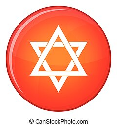 Star of David icon, flat style - Star of David icon in red...