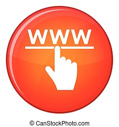 Hand cursor and website icon, flat style - Hand cursor and...