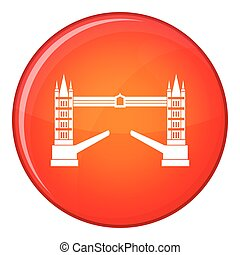 Tower bridge icon, flat style - Tower bridge icon in red...