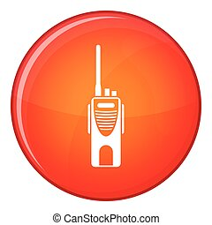 Radio transmitter icon, flat style - Radio transmitter icon...