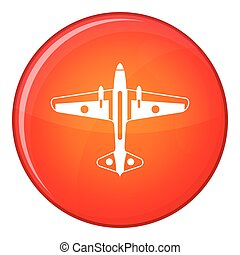 Military aircraft icon, flat style - Military aircraft icon...