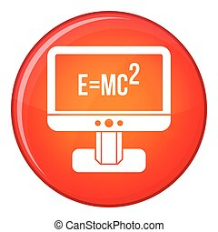 Monitor with Einstein formula icon, flat style - Monitor...