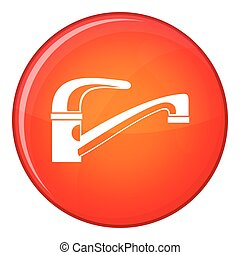 Water tap icon, flat style - Water tap icon in red circle...