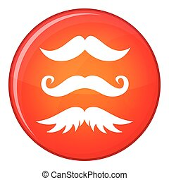 Moustaches icon, flat style - Moustaches icon in red circle...