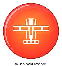 Ski equipped airplane icon, flat style - Ski equipped...