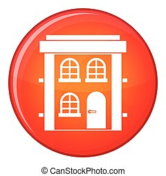 Two-storey residential house icon, flat style