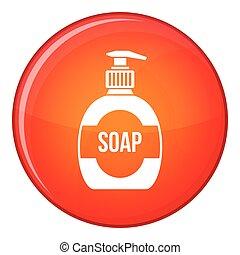 Bottle of liquid soap icon, flat style - Bottle of liquid...