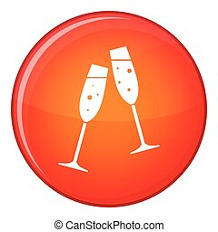 Two glasses of champagne icon, flat style - Two glasses of...