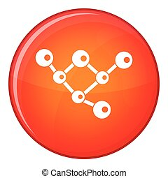 Molecule structure icon, flat style