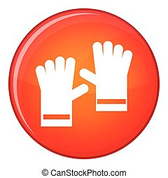 Rubber gloves icon, flat style - Rubber gloves icon in red...