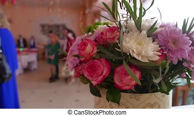 bouquet of flowers is in the restaurant in flower the...