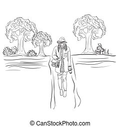 fashion lady with purse in the park. sketch style