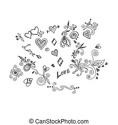 love set in sketch style