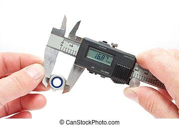 medición, equipo,  vernier,  digital
