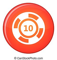 Casino chip icon, flat style - Casino chip icon in red...