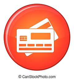 Credit card icon, flat style - Credit card icon in red...