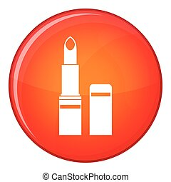 Lipstick icon, flat style - Lipstick icon in red circle...