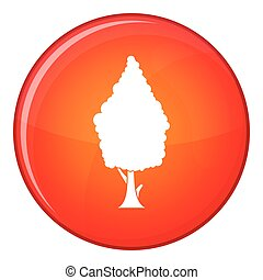 Cypress icon, flat style - Cypress icon in red circle...