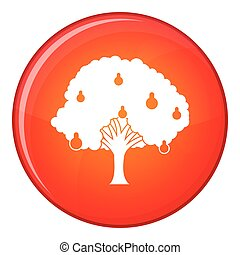 Pear tree with pears icon, flat style - Pear tree with pears...