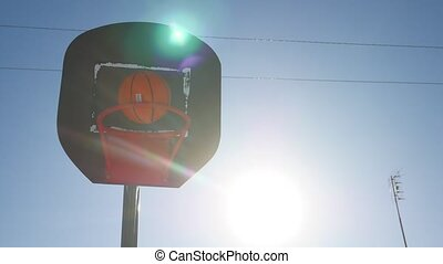 old basketball sport hoop, street basketball throw the ball in basket