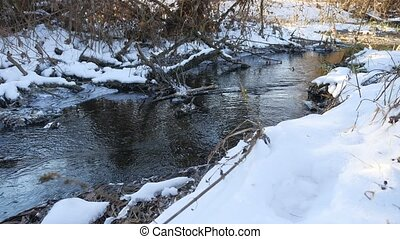 Forest river flowing water late winter a melted nature ice...