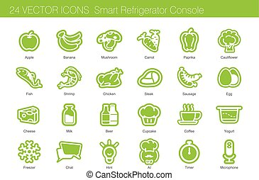 Icon set of food, drink and smart refrigerator.