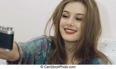 Pretty girl smart taking selfie. Slowly - Pretty girl smart...