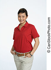 Young Asian woman wearing red shirt could be corporate...
