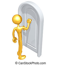 Knocking On A Door - A Concept And Presentation Illustration...