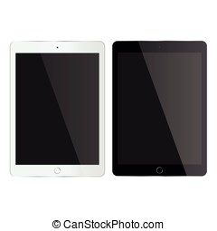 Tablet mock up - Mock up black and white tablet isolated on...