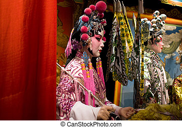 chinese opera dummy and red cloth as text space ,it is a...
