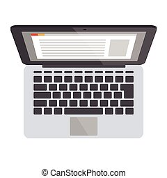 Laptop top view illustration - Flat opened laptop vector...