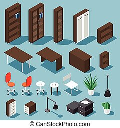Isometric office funiture set - Isometric dark brown office...