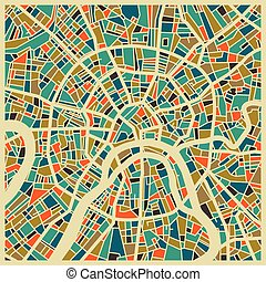 Moscow colourful city plan