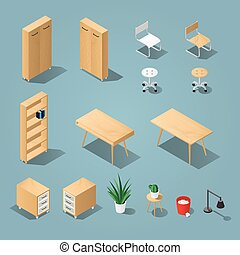 Office funiture set - Isometric light brown office furniture...